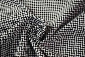 Vintage Black White Houndstooth Tweed Automotive Seat Fabric Upholstery 55 w