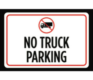 No Truck Parking Print Red White Black Symbol Notice Car Park Lot Sign 12x18