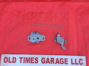 1966 1967 Dodge Charger Coronet Hood Latch Catch Release W Rod Complete Set