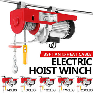 100kg 900kg Electric Hoist Winch Lifting Engine Crane Cable Lift Hook Garage