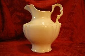 Antique 1800s White Ironstone Pitcher Victorian