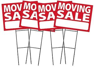 Large 18 x24 Moving Sale Red Sign Kit With Stands 4 Pack