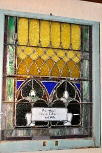 Antique Stained Glass Church Window Charles E Shimer And Wife