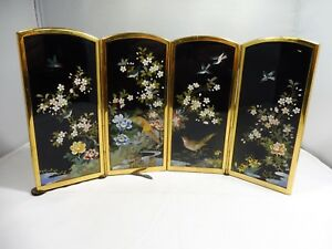 Miniature Japanese Ando Inaba Cloisonne Folding Screen Marked