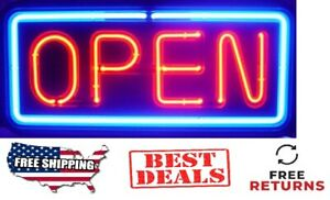 Horizontal Neon Light Open Sign Business Shop Store Large Bright 11 X 25