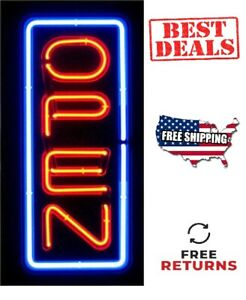 Vertical Neon Light Open Sign Business Shop Store Large Bright 24 X 11