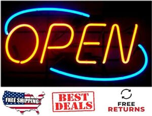 Oval Neon Light Open Sign Business Shop Store Large Bright 12 X 24