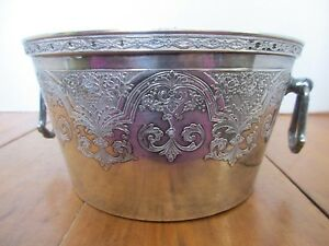 Wilcox Paisley Silverplate Ice Bucket 2 Handles Hard To Find