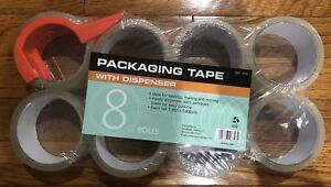 8 Packs 8 Rolls pack 1 88 X 54 6yd Packaging Tape With Dispenser Brand New
