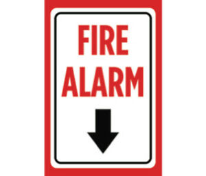 Fire Alarm Print Red White Black Poster Down Arrow Store Customer Sign 12x18