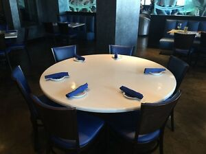 Restaurant Table Tops Cultured Marble 60 Round Inside Outside Made In Usa
