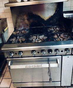 Commercial 6 Burner Gas Stove Dual Fryer Restaurant Imperial Gas Range used