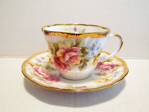 Queen S By Rosina Tea Cup And Saucer White And Pink Roses England