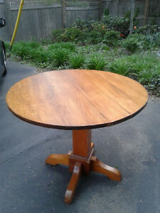 Original Antique Oak Dining Round Table Unmarked Stickley Arts Crafts Mission