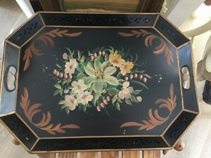 Large Antique Hand Painted Victorian Garden Floral Black Tole Tray