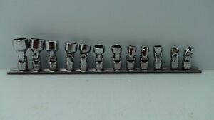Snap On Tools 11 Piece Universal Flex Hinge 1 4 Socket Set Shallow 6 Point New