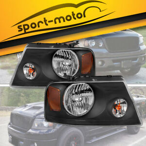 For 2004 2008 Ford F150 Pickup Pair Black Housing Amber Side Headlight Lamp Set