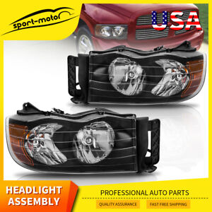 For 2002 2005 Dodge Ram 1500 2500 3500 Pickup Black Headlights Headlamps Pair