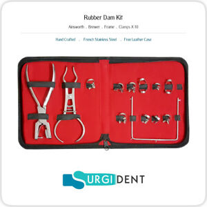 Rubber Dam Punch Kit Dental Ainsworth Brewer Frame 10 X Clamps Instruments