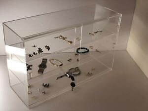 Jewelry Acrylic Display Showcase 21 1 4 x7 1 2 x13 1 4 h Sliding Door 3 Shelves