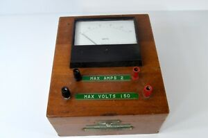 Rare Vintage Simpson Electric Co Volt Meter hamilton Watch Company Wooden Box