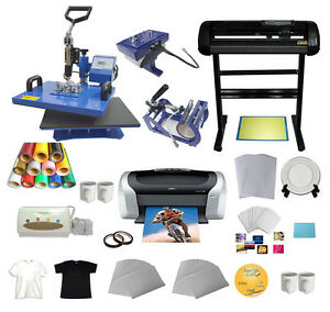 Vinyl Cutter 5in1 Heat Press Printer Vinyl T shirt Paper Transfer Start up Kit