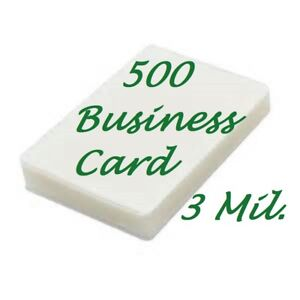 500 Business Card Laminating Sheets Pouches 3 Mil 2 1 4 X 3 3 4 Scotch Quality