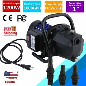 Water Booster Pump 1200w 1 Shallow Home Garden Irrigation 1000gph Draining Oy