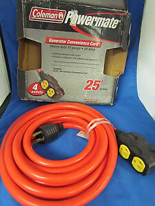 Coleman Powermate Pa0650193 Generator 4 outlet Cord 25ft Heavy Duty 117233