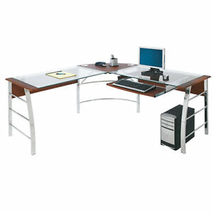 Realspace Mezza L shaped Glass Computer Desk Cherry chrome