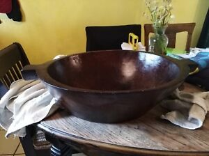 Old Large Hand Carved Wooden Bowl