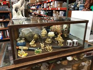 Antique 33 Oak Wavy Glass Spring Door General Store Apothecary Display Case