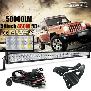50inch Curved Led Light Bar Combo wiring brackets For 99 13 Gmc Chevy Roof