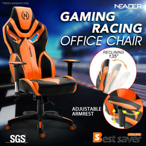 Deluxe Pu Leather Racing Chair Ergomomic 360 Swivel Office Chair Computer Seat