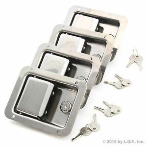 4 Stainless Door Lock Trailer Toolbox Rv Handle Latch Large 5 5 Paddle Key New