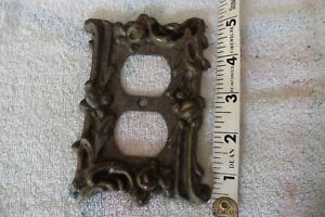 Brass Duplex Electrical Outlet Cover Vintage Wall Floral Flower Plate
