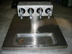 Custom Made Ss 4 Head Beer Tap Tower With Ss Countertop And Drain