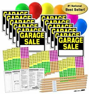 Garage Sale Sign Kit With Pricing Stickers And Wood Sign Stakes A808g