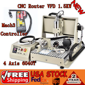 4axis Vfd 1 5kw 6040 Cnc Router Engraver Mill Drill Machine Mach3 Controller