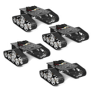 4x Tracked Robot Smart Car Platform Metal Tank Chassis Dual Dc 9v Motor Us Stock