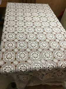 Vintage French Hand Made Coverlet Crochet 59x82 Curtain Bed Cover Tablecloth