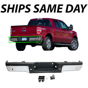 New Chrome Complete Rear Steel Bumper Assembly For 2009 2014 Ford F150 W Park