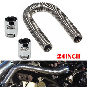 24 Flexible Upper Lower Radiator Hose Stainless Steel W Chrome Caps V8 Kit
