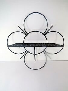 Vtg Black Wire Metal Wall Shelf Mid Century Modern Atomic Mategot Style Flower