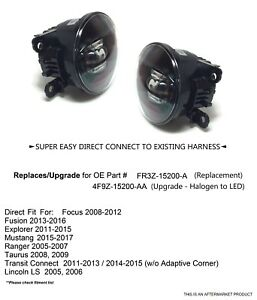 Clear Led Replacement Upgrade Fog Lights For Ford Focus Fusion Explorer Mustang