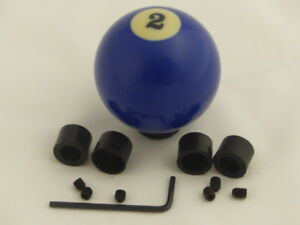 Custom Pool Billiard Ball Gear 2 Solid Blue Gear Shifter Shift Knob