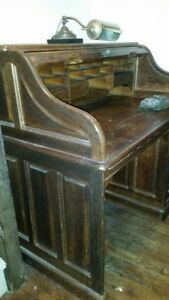 Antique Roll Top Desk Solid Oak Manufactured By Derby Desks Boston Ma