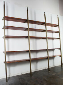 Mid Century Modern Wall Unit George Nelson Omni Gold Shelving Modular Adjustable