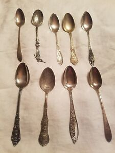 9 Piece Sterling Silver Spoon Lot Sovenier Spoons English Wallace Etc