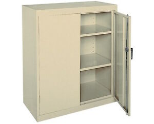 Counter Height Cabinet Storage Metal Locking 36 Inch Wide 42 Inch Tall Putty